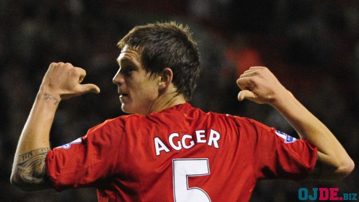 Liverpool's Agger celebrates scoring against Crewe Alexander during their English League Cup soccer match at Anfield in Liverpool