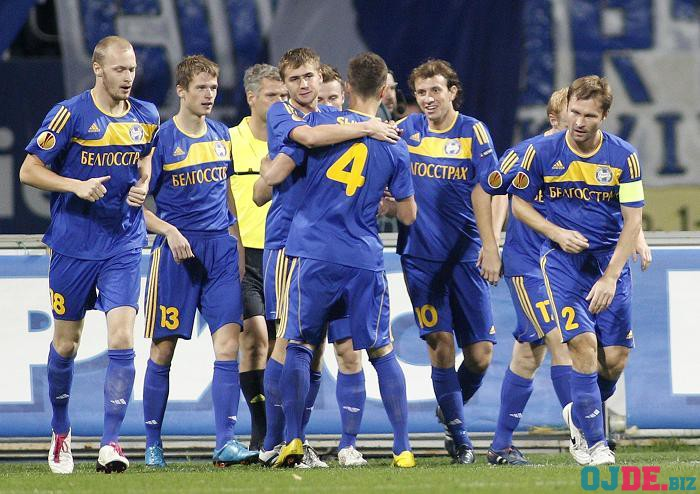 BATE Borisov's players celebrate a goal against Dynamo Kiev during their Europa League soccer match in Kiev