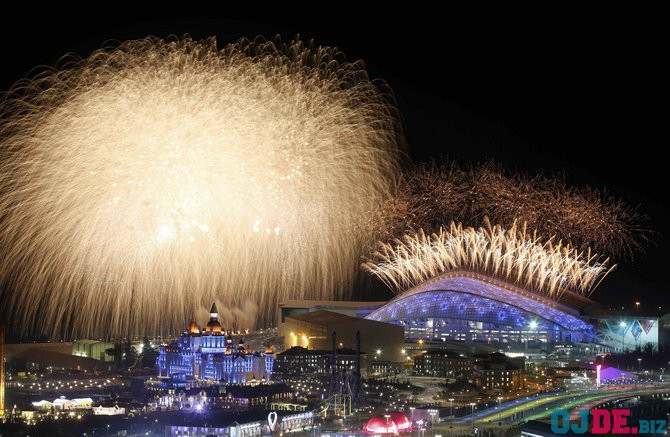 Fireworks are seen over the Olympic Park during the opening ceremony at the Adler district of Sochi